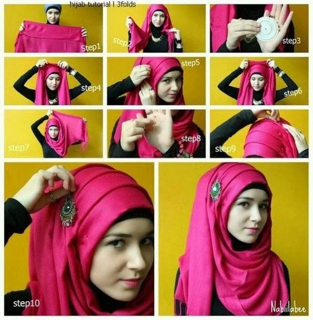 cara memakai jilbab pesta 1