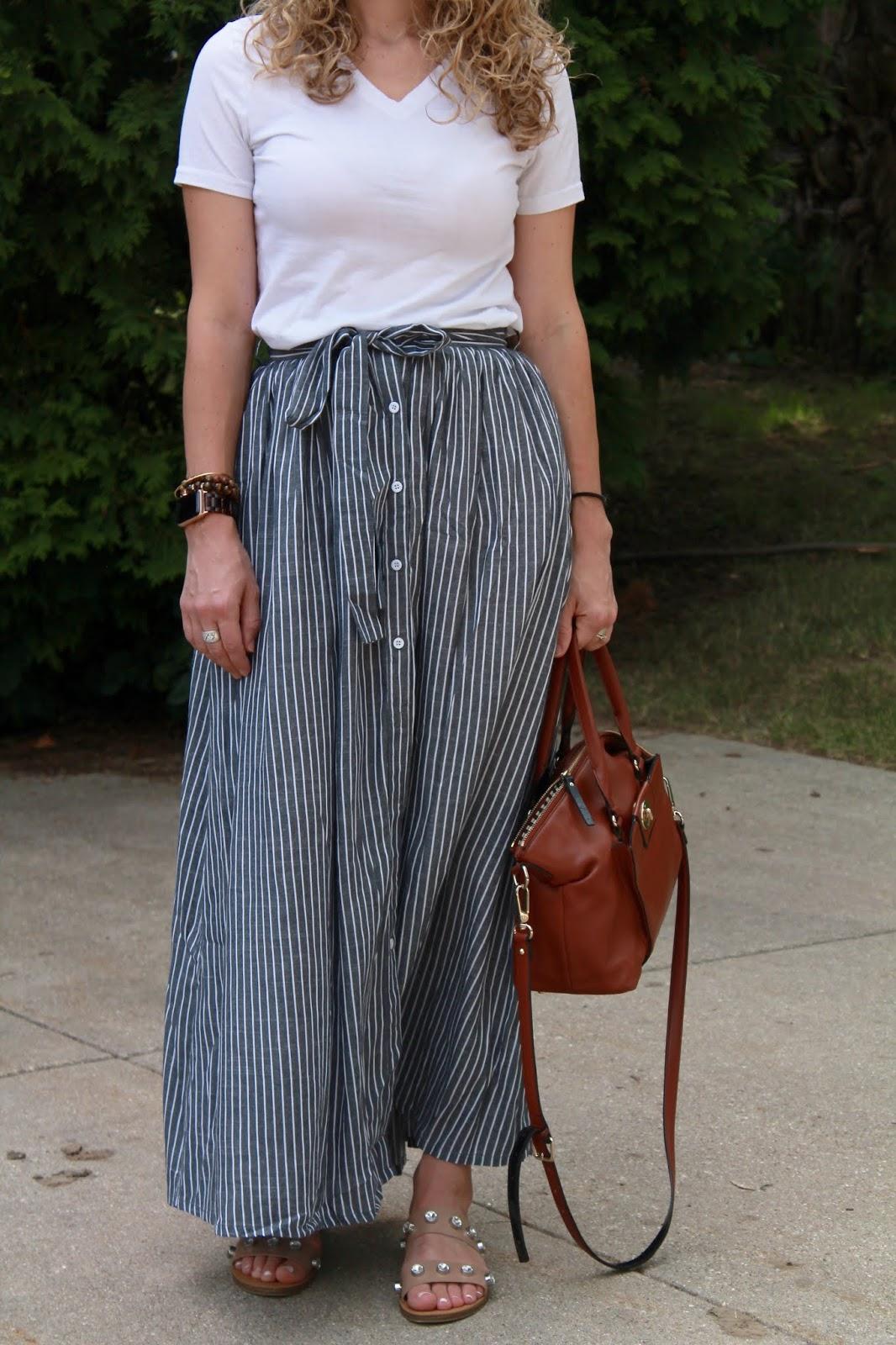white tee, striped maxi skirt, crystal studded sandals, Kate Spade cognac satchel