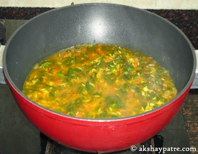 boiled water added for  palak pulao recipe