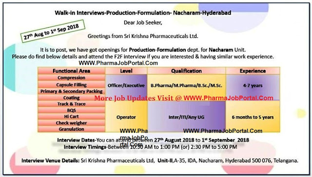 Sri Krishna Pharmaceuticals Walk In Interview for Multiple Positions from 27 August to 1 September