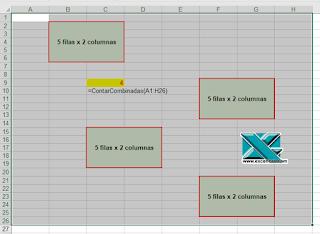 VBA: Contar celdas combinadas en un rango