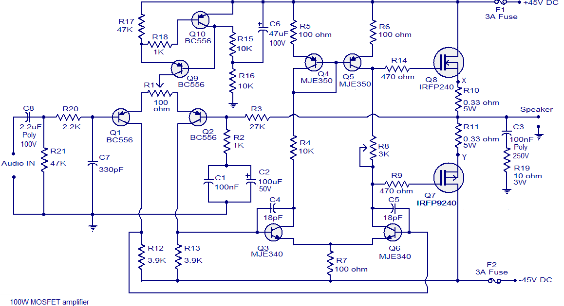100W MOSFET Power Amplifier based on IRFP240 ~Circuit diagram
