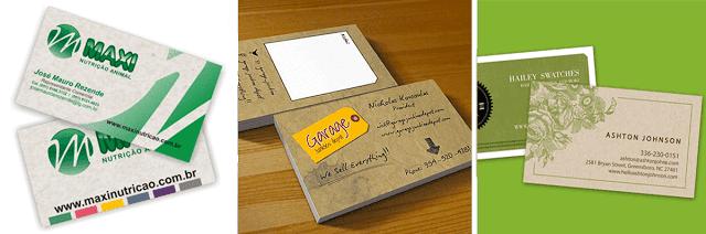 cartão de visitas papel reciclavel