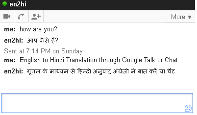 English to Hindi Instant Translation through Google Talk or Chat
