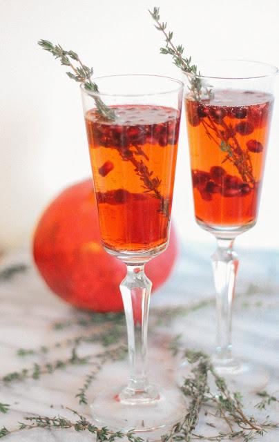 Pomegranate Thyme Prosecco Sparkler