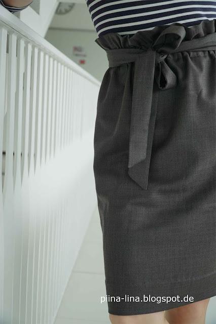 Total leicht genäht, ohne Schnittmuster: Paperbag waist skirt