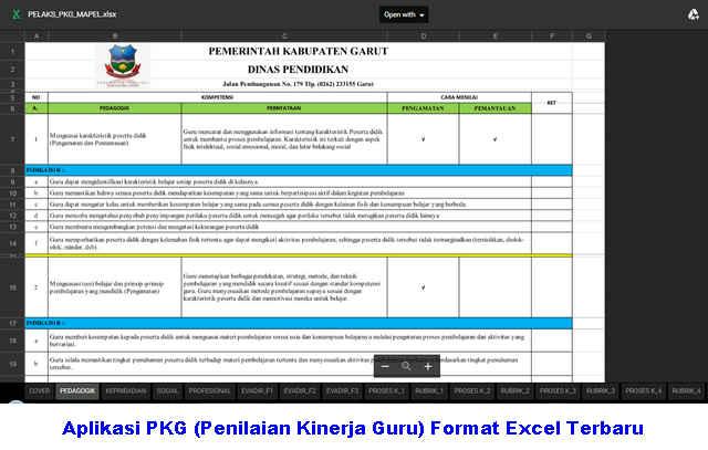 Download Gratis Aplikasi PKG (Penilaian Kinerja Guru) Format Excel Terbaru Lengkap