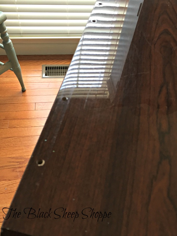 """Can you see how shiny and smooth the finish is? I get a lot of questions about whether laminated and/or shiny finishes can be painted, and the answer is """"yes""""!"""