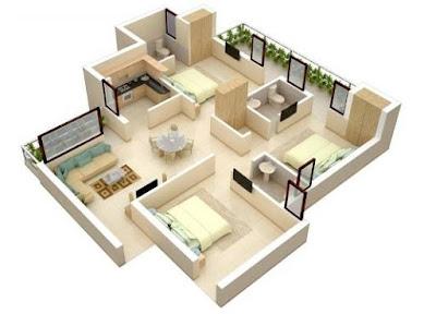 Denah Gambar Rumah 3 Kamar Tidur Minimalis 3D