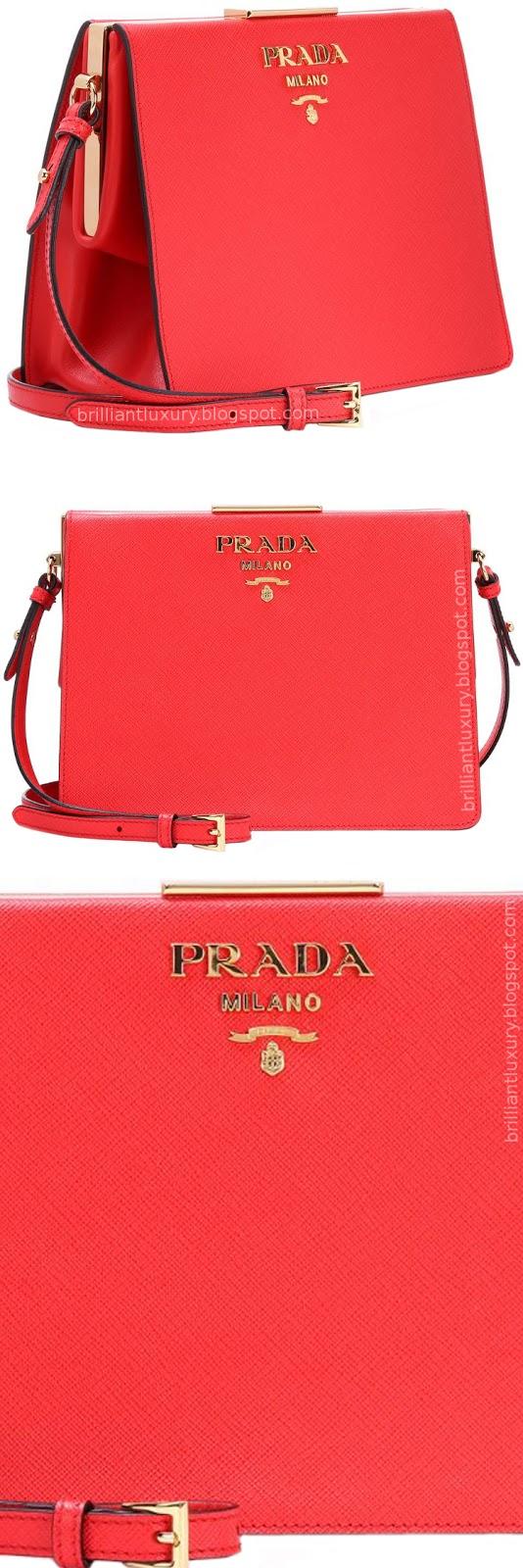 Brilliant Luxury ♦ Prada Saffiano red leather shoulder bag