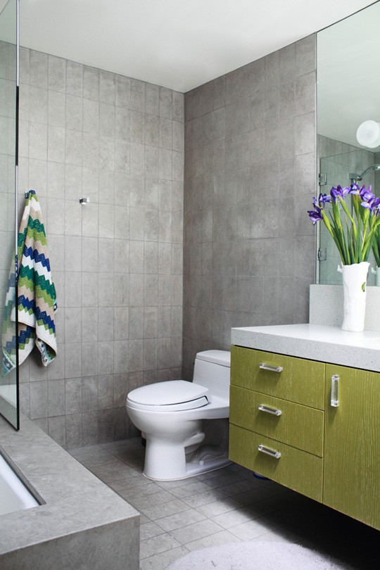 Grey And Lime Green Bathroom
