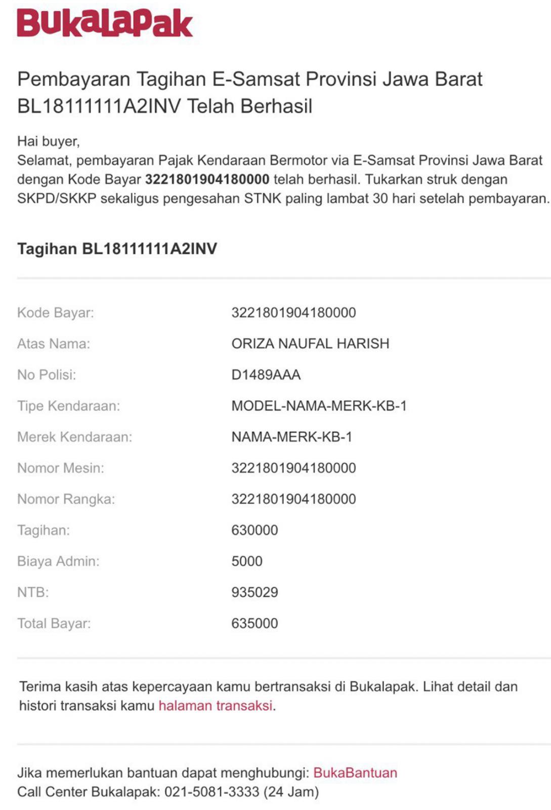 Layanan e-Samsat di Bukalapak Khusus Jawa Barat