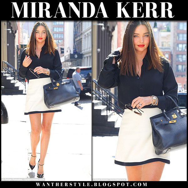 Miranda Kerr in black shirt and white mini skirt miu miu model style september 20