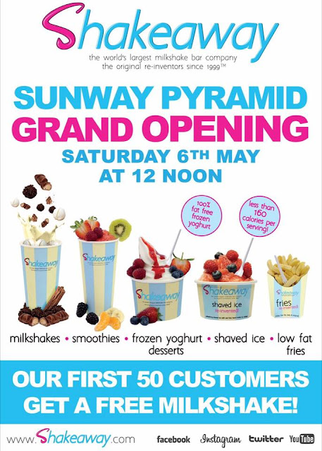 Shakeaway Malaysia Free Milkshake Giveaway Sunway Pyramid Grand Opening Promo