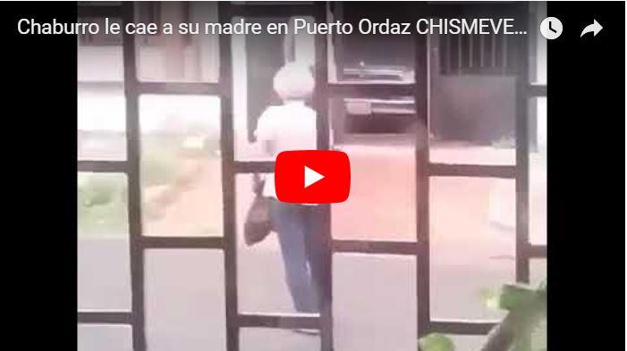 Individuo grabado cuando le dio una paliza a su propia madre anciana en Puerto Ordaz