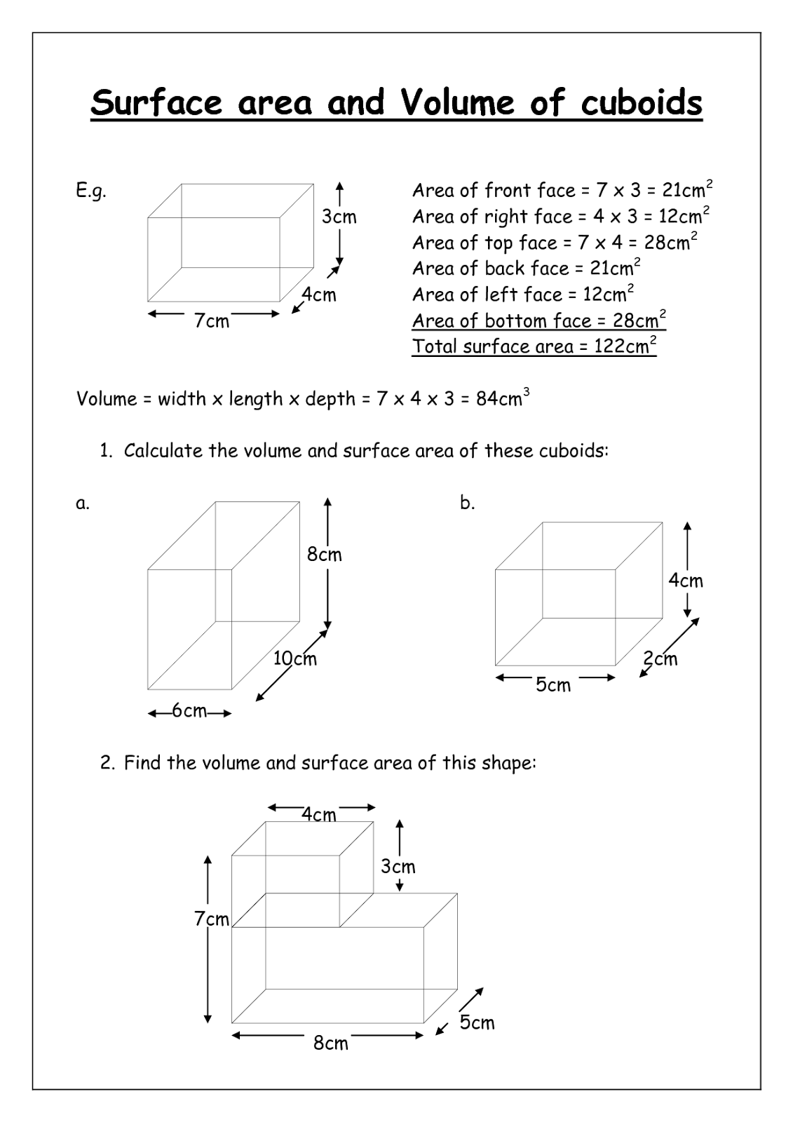 Volume Cubes Worksheet Amp Cuboid