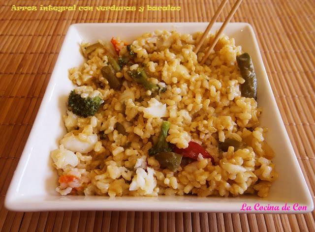 Arroz integral con verduras y bacalao recetas de cocina - Cocinar bacalao congelado ...