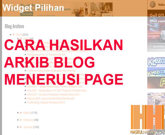 Cara Bina Laman Arkib Untuk Blogspot