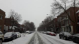 Villeray, rue, l'hiver, voitures