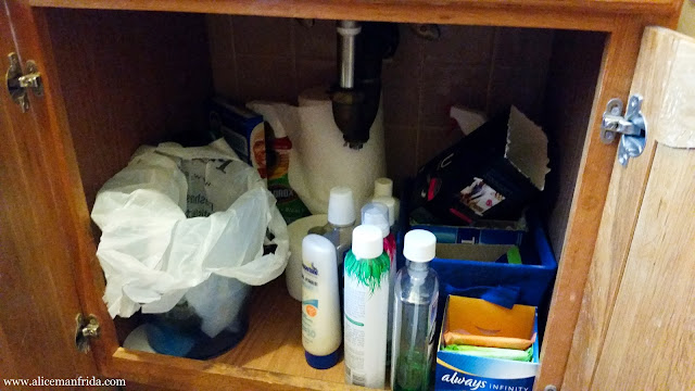 bathroom, organization, storage, before and after,