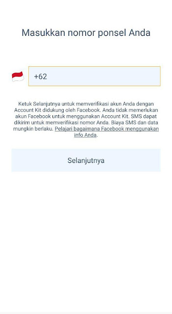 Silahkan masukkan Nomor HP Terdaftar menggunakan +628