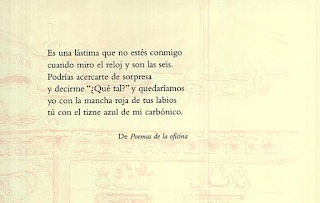 Frase del poema Amor de tarde de Mario Benedetti