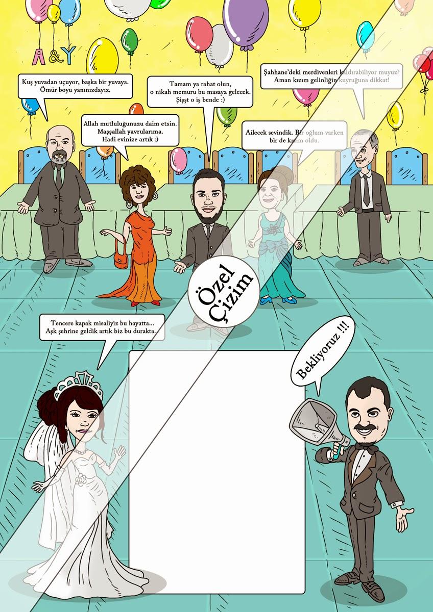Karikatür Çizimleri, karikatür, düğün davetiyesi, davetiye çizim, Düğün Davetiyesi İçin Karikatür Çizimi, farklı davetiye, davetiye alternatifleri,komik düğün davetiyeleri, evlilik, düğün