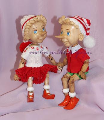Буратино, Буратино-девочка, Деревянный буратино, Буратино из дерева, девочка с мальчиком, Цапенко Юрий Любовь и Людмила, Люлюр, Lyulyur, интересный необычный подарок, шапочка, помпон, кофточка, шорты, юбочка, длинный нос, шарнирная кукла, деревянная кукла ручной работы, авторская кукла