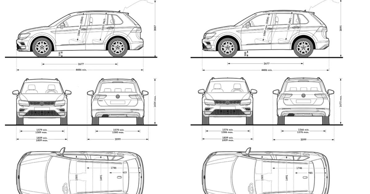 Volkswagen Tiguan Dimensioni e bagagliaio   MY 2016/2017 ...