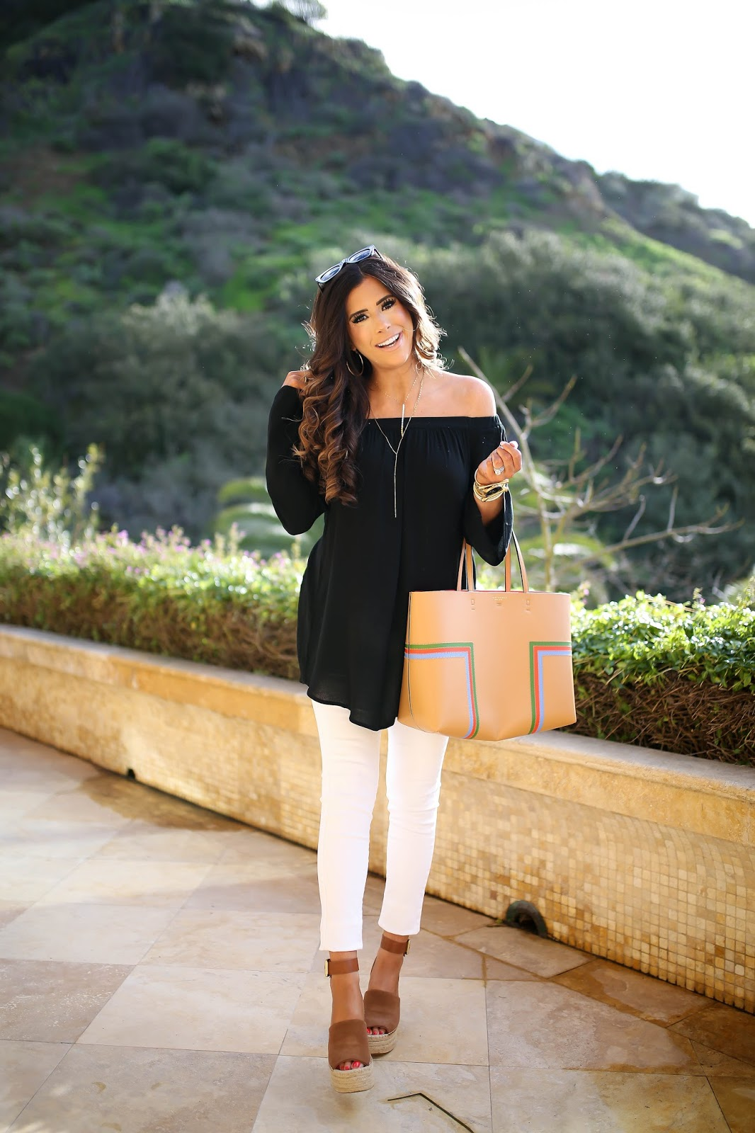 Emily Gemma, The sweetest thing blog, Nordstrom off the shoulder top, tory burch leather tote black tan, marc fisher wedges review, nordstrom wedges spring, chloe dupe wedges, marc fisher wedges adalyn in saddle, Lana jewelry 14k necklace, black ripped maternity jeans, DL1961 maternity jeans, laguna beach fashion blog, laguna beach best places to eat, montage laguna beach The Loft review, spring fashion trends 2017, spring fashion pinterest, spring outfits pinterest, gucci marmot medium white bag, nixon gold watch with black face, the styled collection bracelets, spring outfit ideas with off the shoulder tops, laguna beach blog review, tory burch