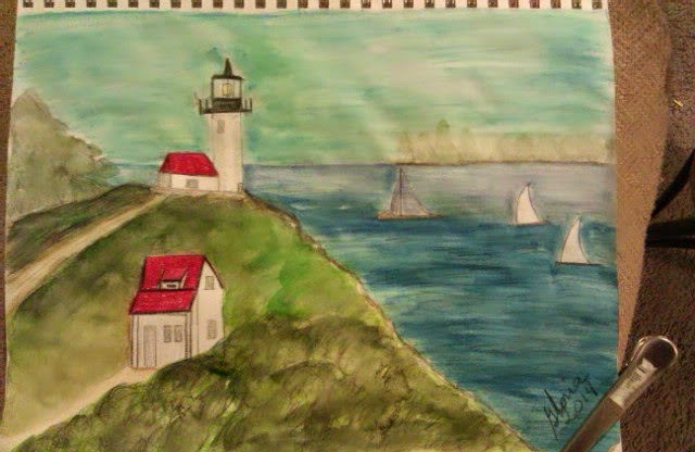 """Lighthouse sketch by Gloria Poole of Missouri; watercolors"