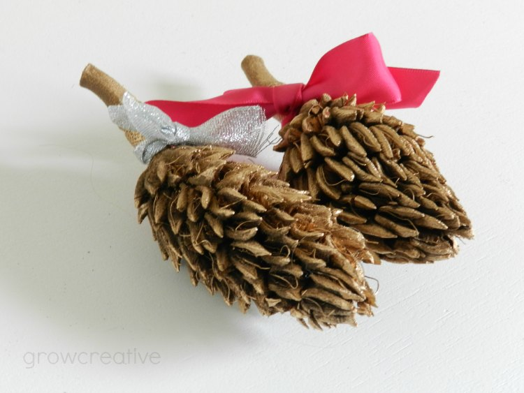 Golden Spray Painted Magnolia Seed Pod Christmas Decor: Grow Creative