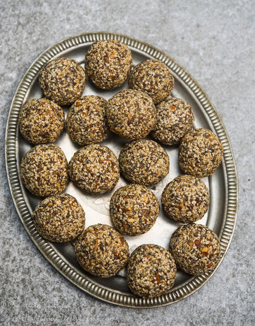 sesame almond laddu | mixed seeds and nuts protein snack