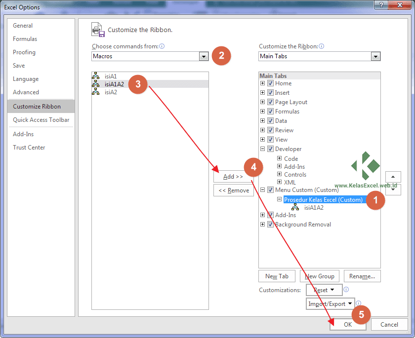 Cara memanggil sub procedure dari menu Ribbon Excel
