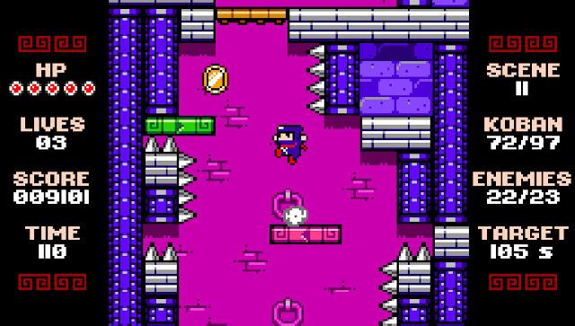 Estrellas ninja a tutiplén en un plataformas 2D herencia de los juegos para NES