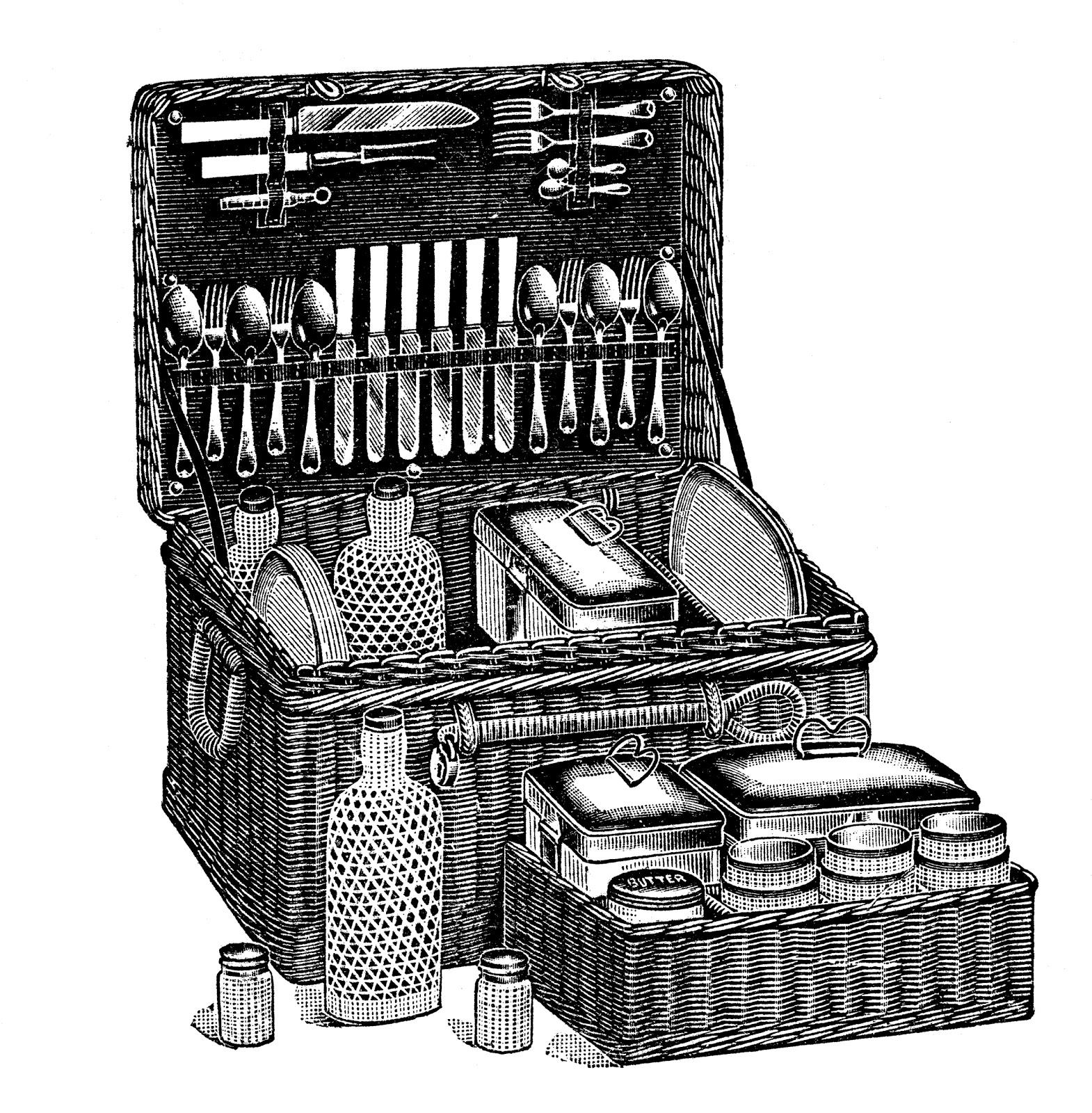 Free vintage clip art images: Vintage retro picnic hamper ...