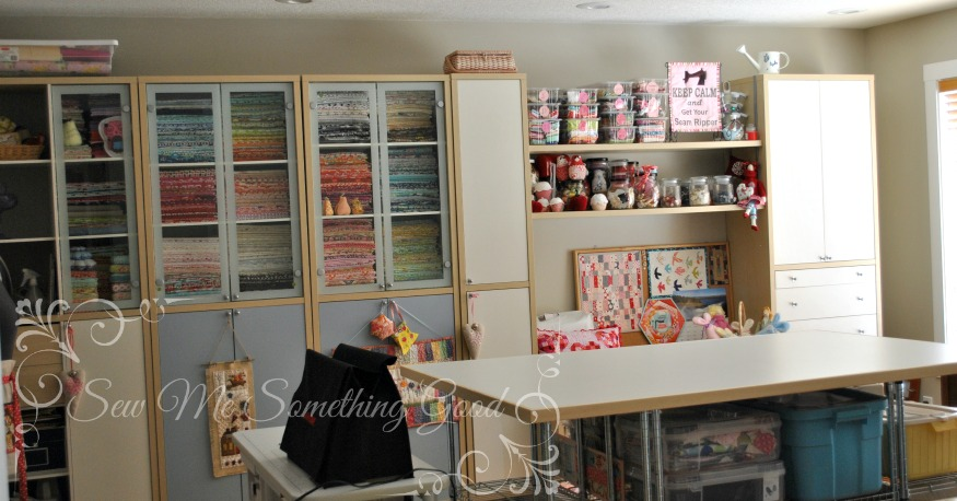 Sew me something good new sewing room reveal for Sewing room furniture