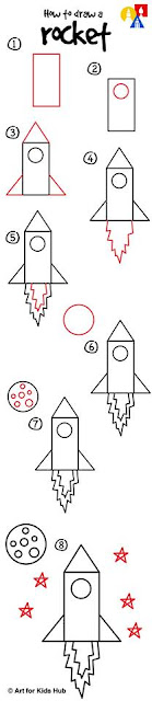 Learn to draw a rocket for kids