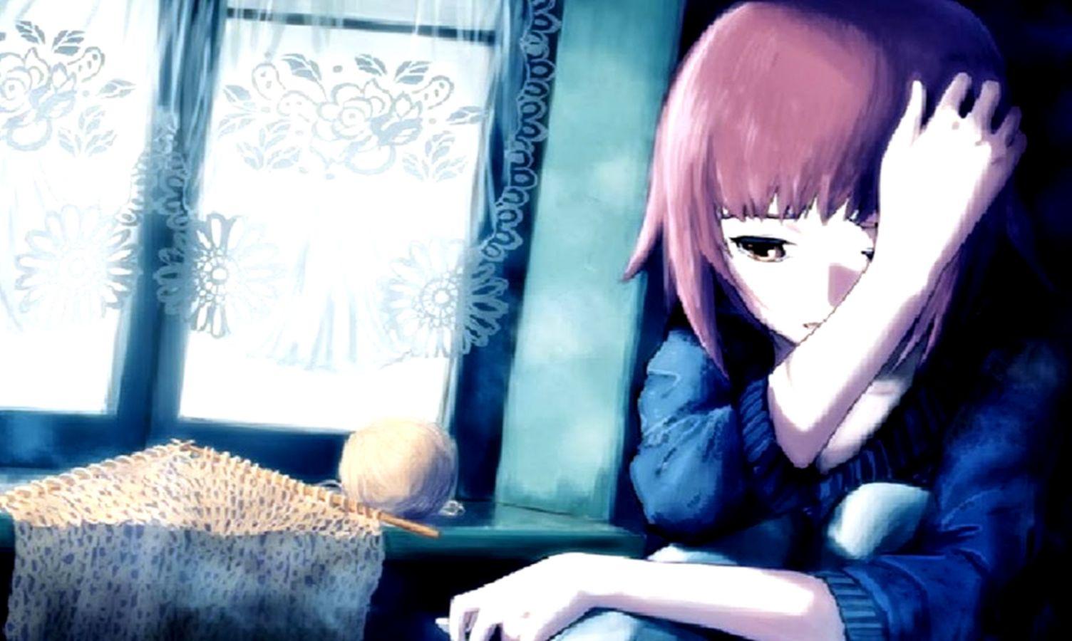 Anime girl sad and alone sad girl anime wallpaper for chainimage