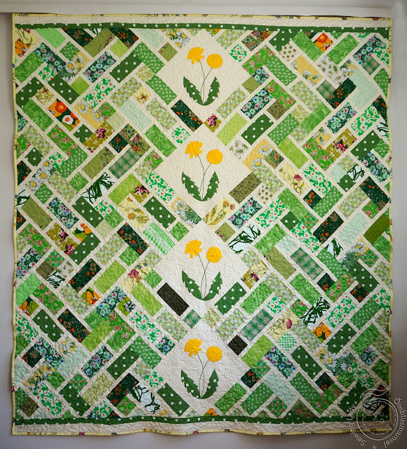 lapitehnika, green floral quilt