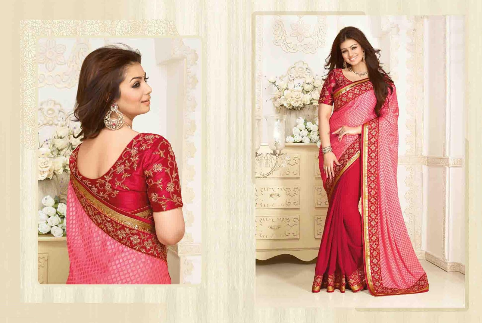 Peach & Red Embroidered Brasso Saree With Raw Silk Blouse