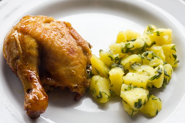 Chicken Leg Quarter, Roasted, and Potatoes with Herbs