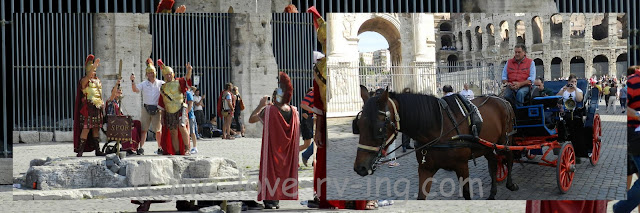 Gladiators posed for pictures and horse drawn buggies gave rides