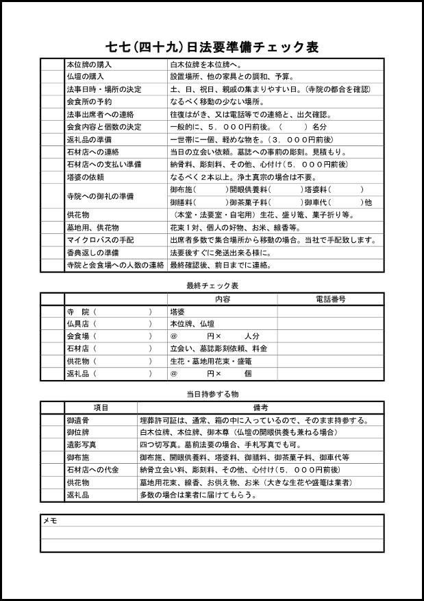 七七(四十九)日法要準備チェック表 012