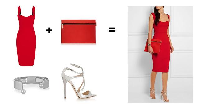 Сочетание красной сумки и красного платья