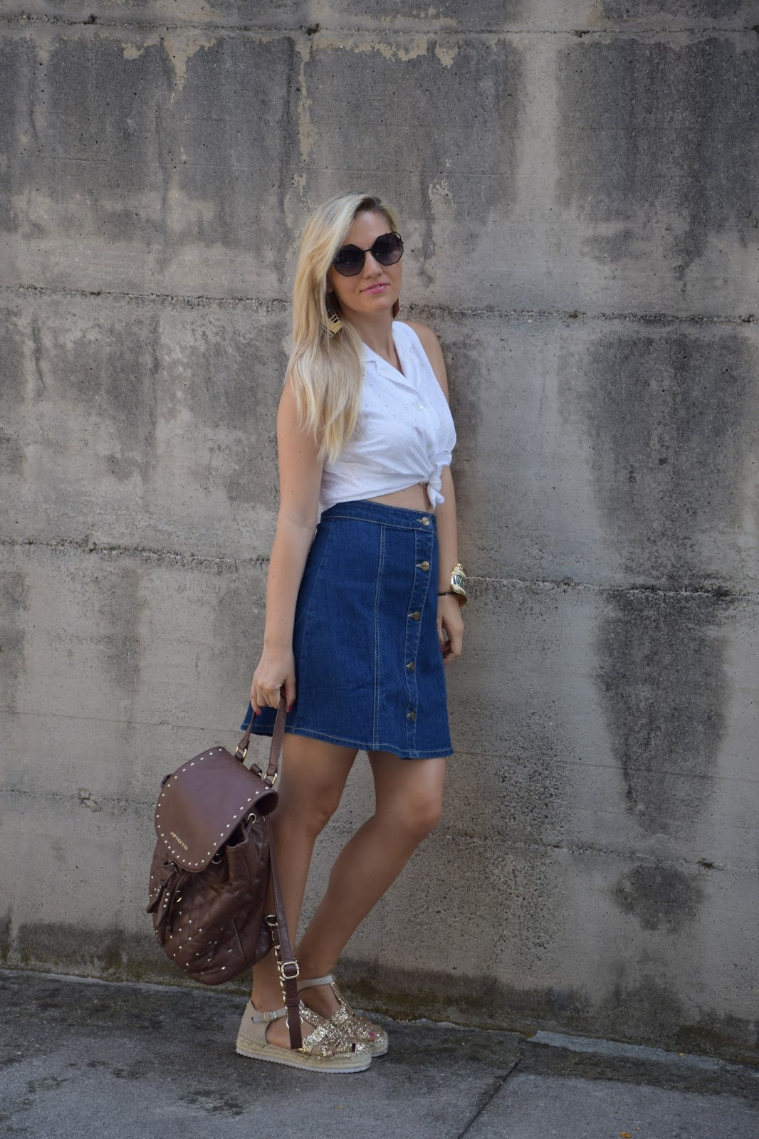 info for 08bf9 74504 Color-Block By FelyM.: OUTFIT: DENIM SKIRT AND WHITE SHIRT ...