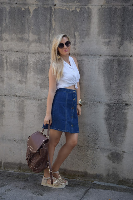 outfit gonna di jeans come abbinare la gonna di jeans abbinamenti gonna di jeans how to wear denim skirt denim skirt outfit mariafelicia magno fashion blogger colorblock by felym outfit luglio 2016 outfit estivi summer outfits july outfits fashion blogger italiane fashion bloggers italy