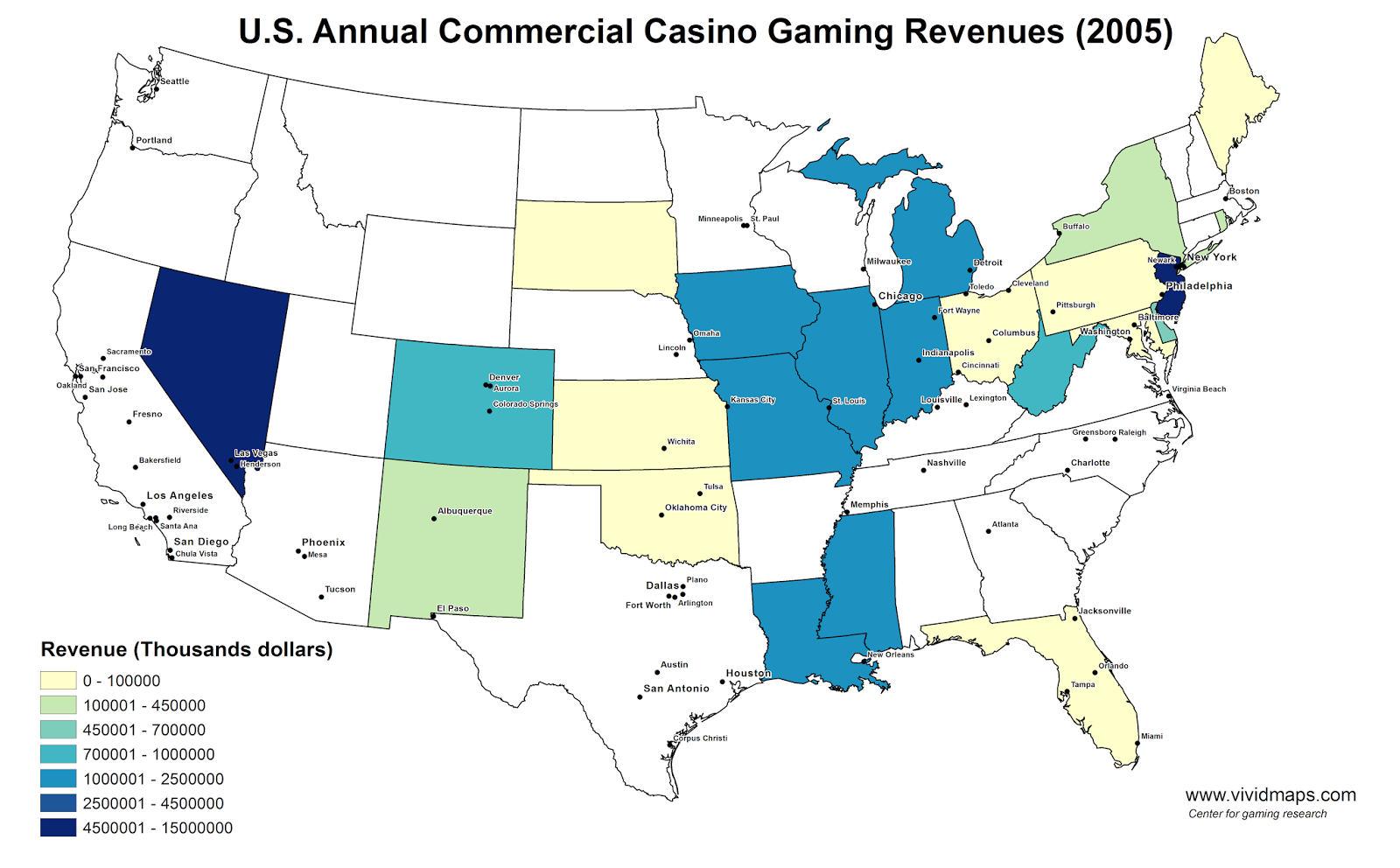 U.S. Annual Commercial Casino Gaming Revenues (2005)