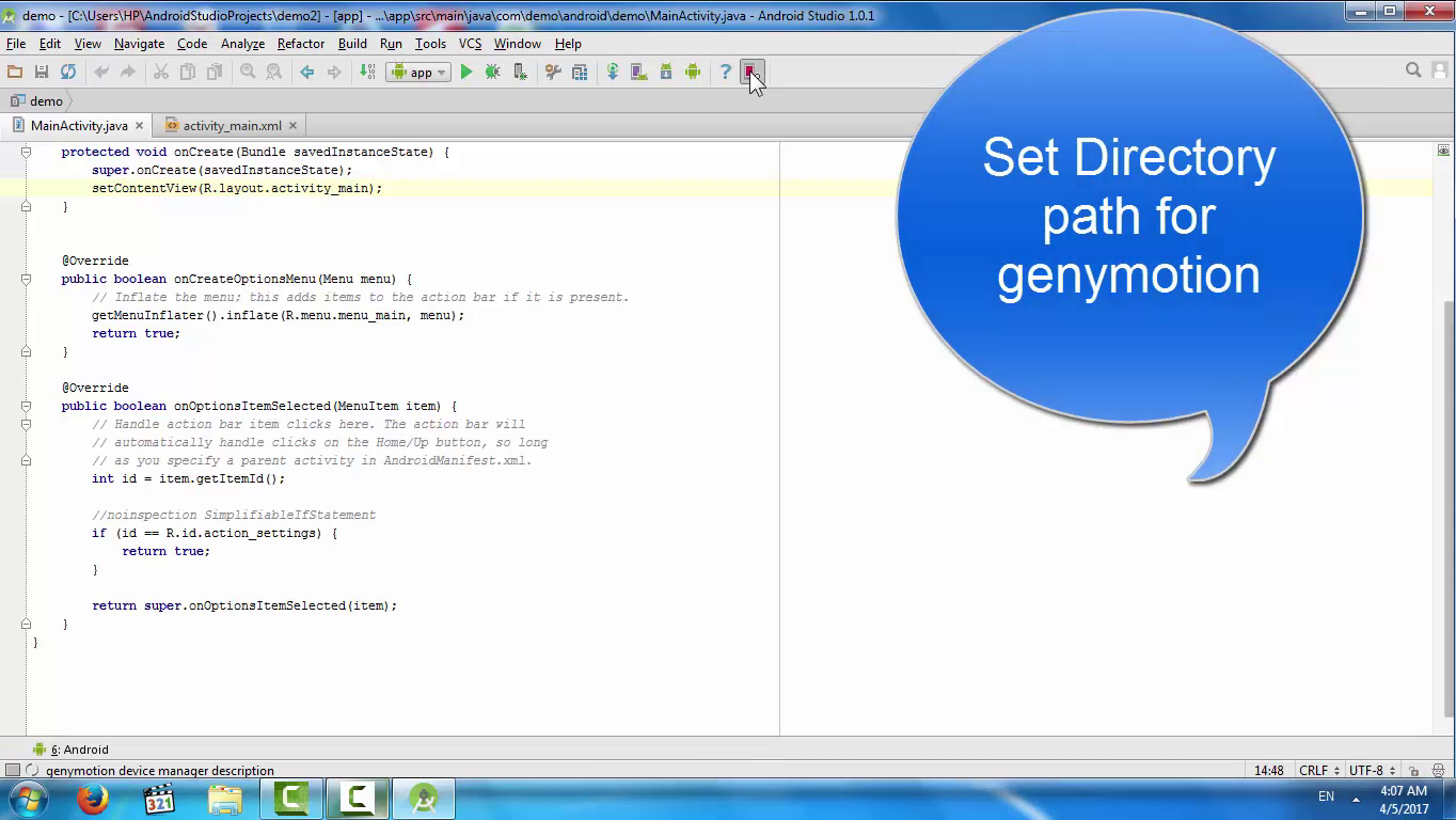 how to use genymotion in android studio