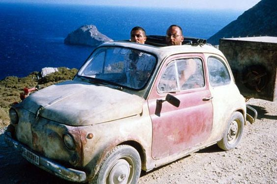 "Friends; Enzo and Jacques and the Fiat 500 used in the film ""The Big Blue"" 1988"